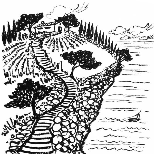 Daily Sketch No. 163, Cliffside Home, Liguria