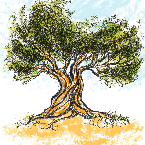 OliveTree 2, ink drawing with digital color
