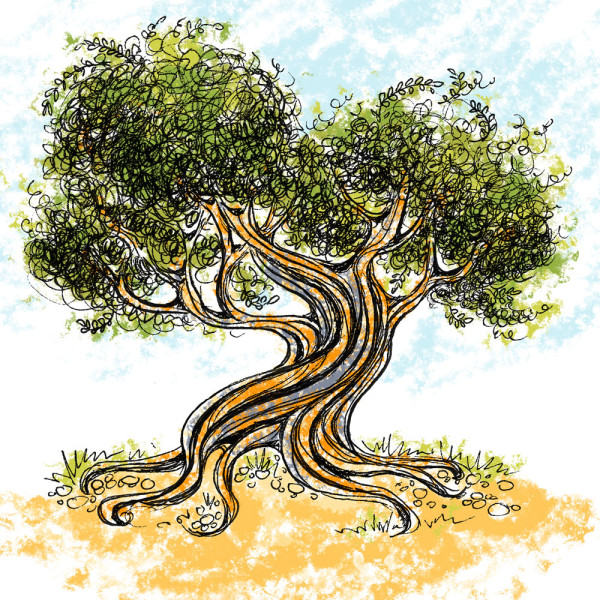 OliveTree 3, ink drawing with digital color