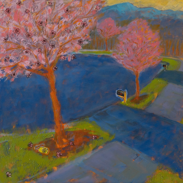 Cherry Trees, 12 x 12 inches, mixed media collage, 2012