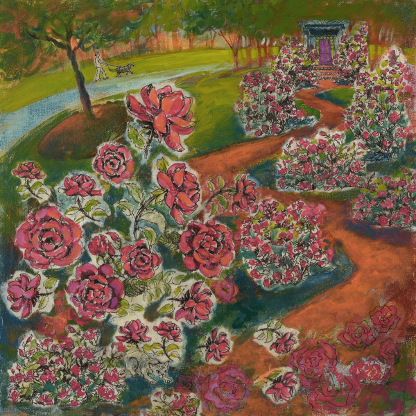 The Path of Roses, 12 x 12 inches, mixed media collage, 2012