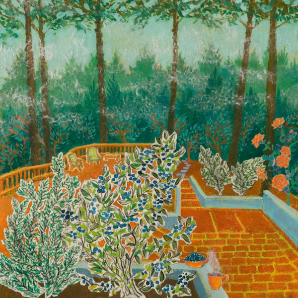Patio, 12 x 12 inches, mixed media collage, 2012