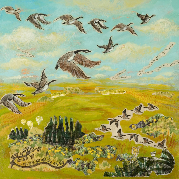 Wild Geese, 12 x 12 inches, mixed media collage, 2012