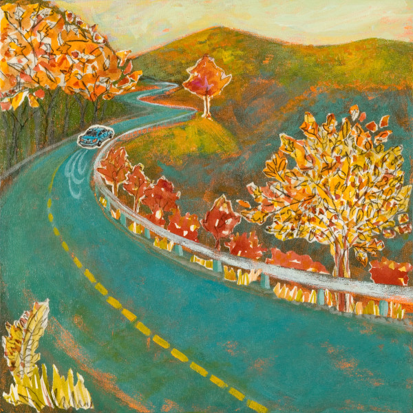 Autumn Drive, 12 x 12 inches, mixed media collage, 2012