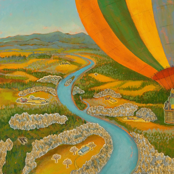 Balloon Ride, 12 x 12 inches, mixed media collage, 2012