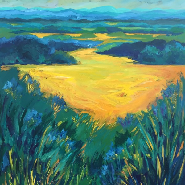 Blue Ridge Landscape: Yellow Meadow, acrylic on panel, 48 x 36 inches, 2016, SOLD