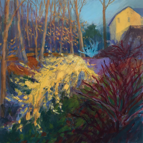 Forsythia with Yellow House, acrylic on panel, 12x12 inches, 2017-025
