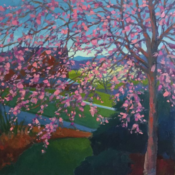 Wind in the Cherry Tree, oil on panel, 12 x 12 inches, 2017-027, SOLD