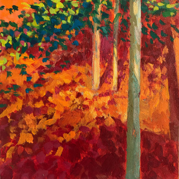 Autumn Woods, acrylic on panel, 6 x 6 inches, 2016-265, SOLD