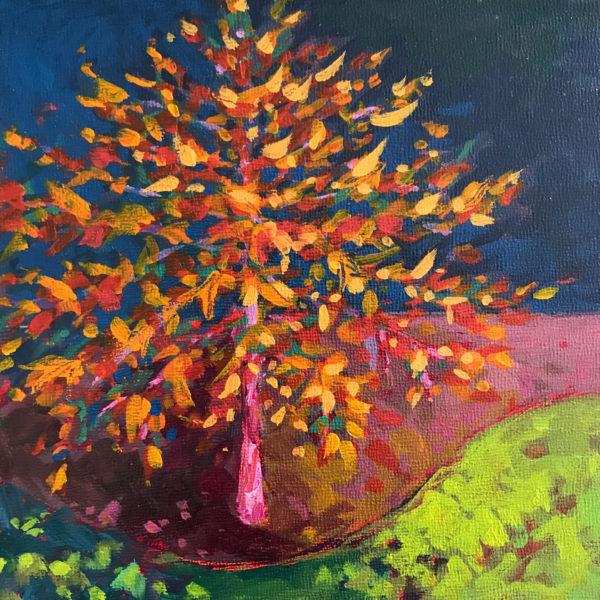 Tree Portrait: Black Gum, acrylic on panel, 6 x 6 inches, 2016-266