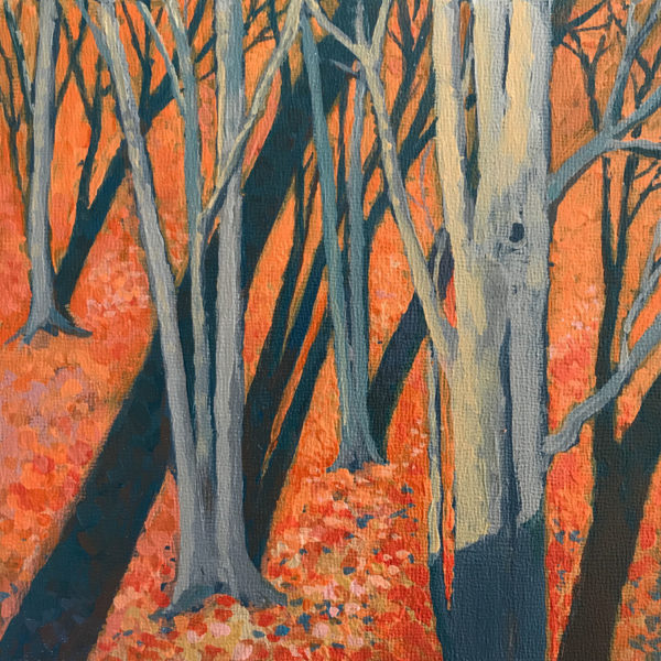 Shadows on Beeches, acrylic on panel, 6 x 6 inches, 2016-271, SOLD