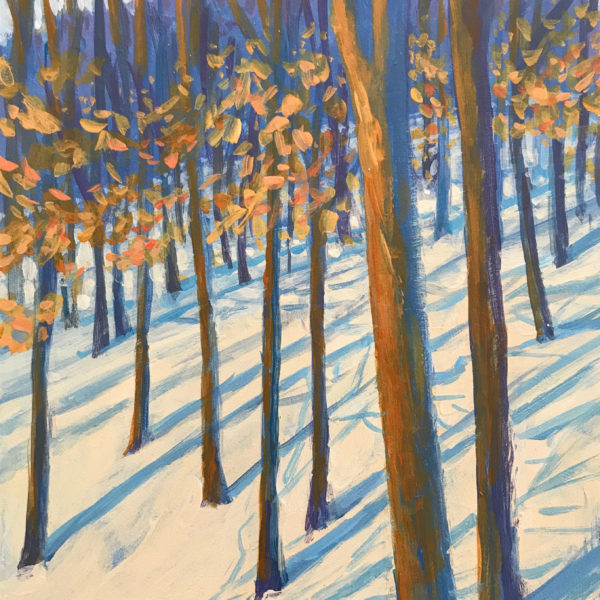 Snowy Woods, acrylic on panel, 7 x 5 inches, 2017-002