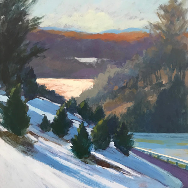Blue Ridge Landscape: Snowy Day, acrylic on panel, 16 x 12 inches, 2017-012
