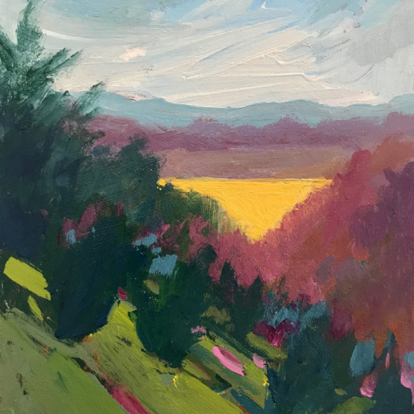 Blue Ridge Landscape, acrylic on panel, 7 x 5 inches, 2017-014