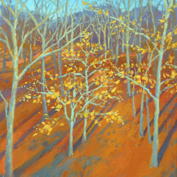 Winter Woods with Beech Trees, acrylic on panel, 16 x 12 inches, 2017-020