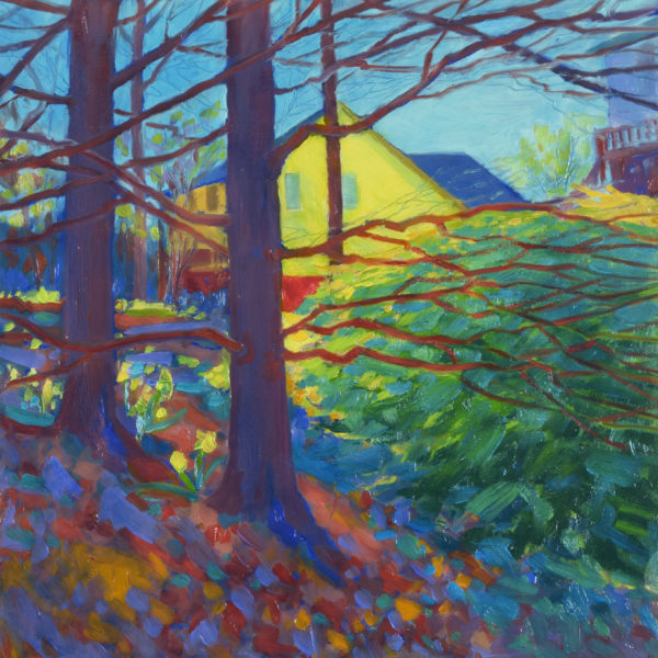Yellow House through the Woods, oil on panel, 12 x 12 inches, 2017-029
