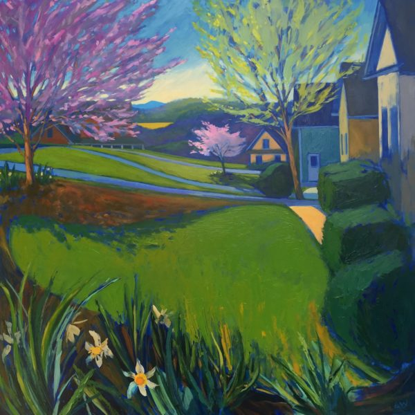 Front Lawn, oil on panel, 30 x 30 inches, 2017-030