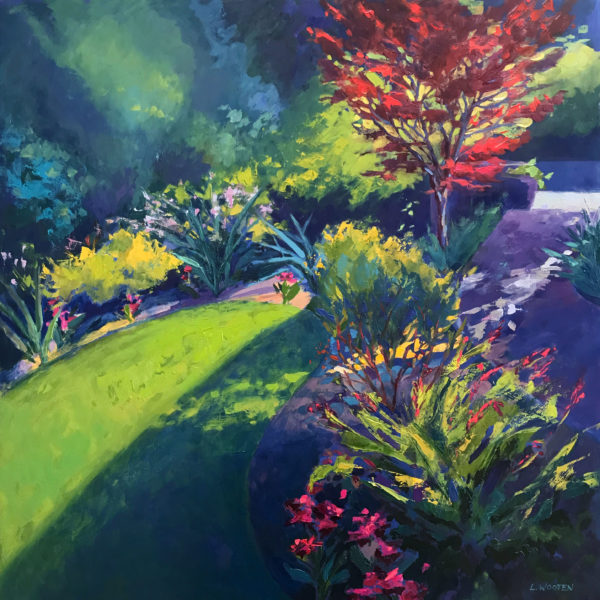 Summer Garden with Red Maple, oil on panel, 30 x 30 inches, 2017-042