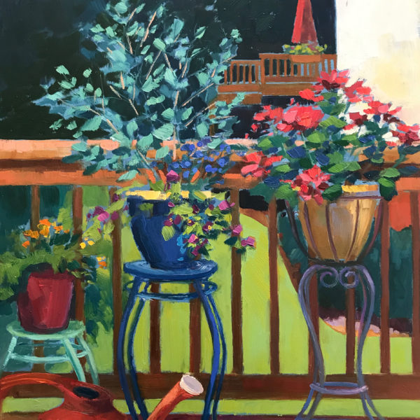 Container Garden, oil on panel, 16 x 12 inches, 2017-044