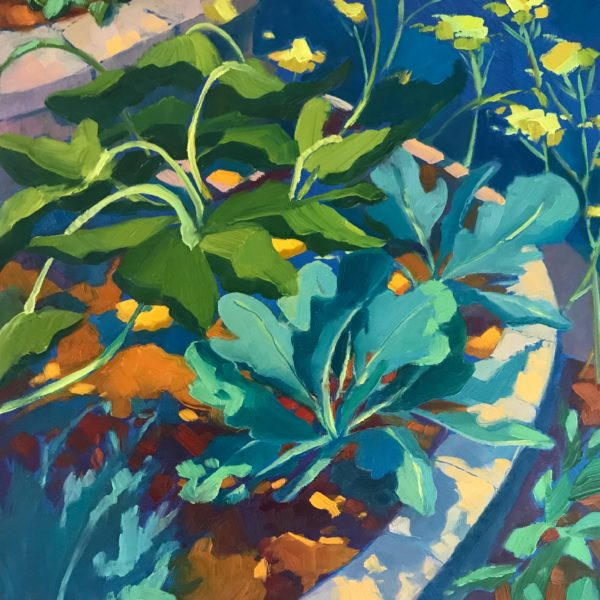 Squash Leaves, oil on panel, 12 x 12 inches, 2017-050