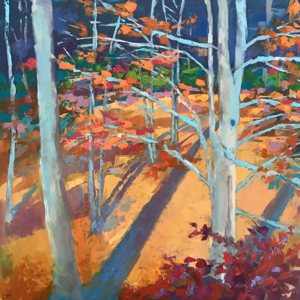 Beech Forest Shadow, oil on panel, 16 x 16 inches, 2017-075, SOLD
